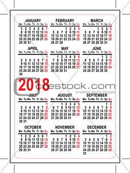 Grid pocket calendar 2018