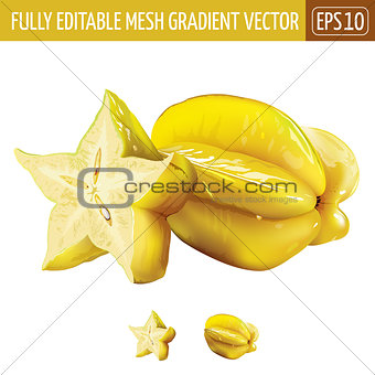Carambola, starfruit on white background. Vector illustration