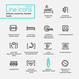 Hospital special rooms - line design pictograms set