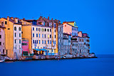 Rovinj waterfront old houses evening view