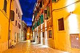 Old stone street of Rovinj evening view