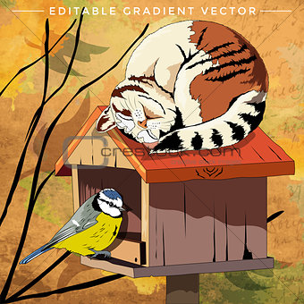 Cat and Bird Illustration