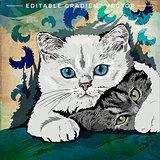 Funny Kittens Illustration