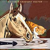 Kitten and Horse Illustration