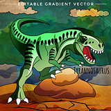 Dinosaur in the habitat. Vector Illustration Of Tyrannosaur