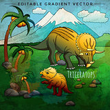 Dinosaur in the habitat. Vector Illustration Of Triceratops