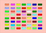 small coloured envelopes