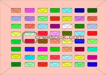 small coloured envelopes