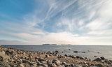 Rocky Shoreline over Ocean