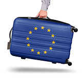 Modern suitcase European Union flag