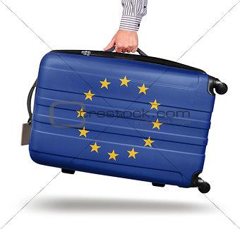 Modern suitcase European Union flag
