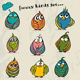 Set of 9 funny cartoon birds.