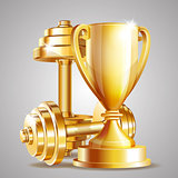 Gold cup with golden realistic dumbbells.