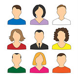 Collection of colored icons avatars people for web