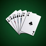 Poker cards flush acorns hand