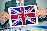 question do you speak English? in a tablet computer