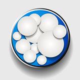 White circles in metallic border over blue
