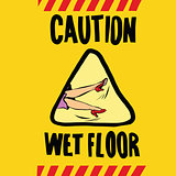 caution wet floor female feet