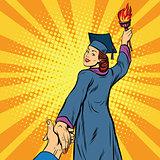 follow me, education university knowledge woman