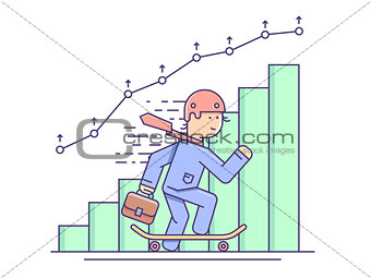 Business growth flat concept