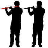 Silhouette of musician playing the flute. Vector illustration