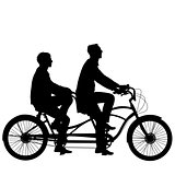 Silhouette of two athletes on tandem bicycle.