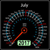 year 2017 calendar speedometer car in vector. July