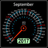year 2017 calendar speedometer car in vector. September