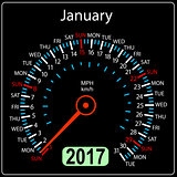 year 2017 calendar speedometer car in vector. January