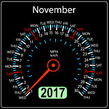 year 2017 calendar speedometer car in vector. November