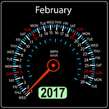 year 2017 calendar speedometer car in vector. February