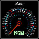 year 2017 calendar speedometer car in vector. March
