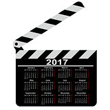 calendar for 2017, movie clapper board. Vector Illustration