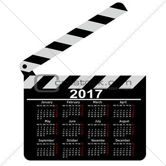 calendar for 2017, movie clapper board. Vector Illustration