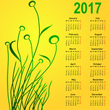 Stylish calendar with flowers for 2017. Week starts on Monday