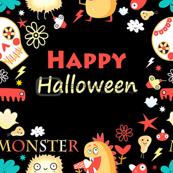 Bright color background with monsters