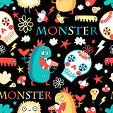 Seamless jolly pattern with monsters