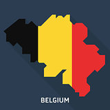 Country shape outlined and filled with the flag of Belgium isolated on blue background