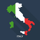 Italy map and flag isolated on blue background.