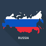 Russian map on blue background