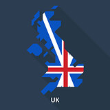 map and flag of united kingdom on blue background