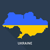 Map and flag of Ukraine country isolated on blue background
