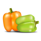 Orange and green sweet pepper.