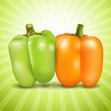 Orange and green sweet pepper.