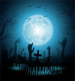 Halloween background with zombies and the moon