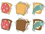 Cartoon set of sandwiches with different stuffing