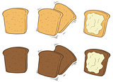 Cartoon set of tasty toasted bread with butter