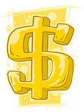 Cartoon gold symbol of dollar