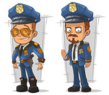 Set of cartoon cops in blue uniform