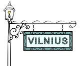 Vilnius retro vintage lamppost pointer.